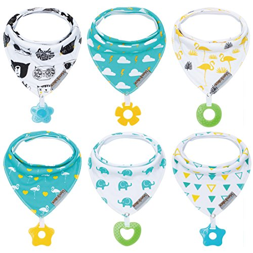 Baby Bandana Drool Bibs 6-Pack and Teething toys 6-Pack Made with 100% Organic Cotton, Super Absorbent and Soft Unisex (Vuminbox ) ( 6 PCS ), Colorful, One Size
