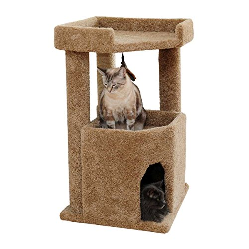 (CozyCatFurniture Cat Condo Corner Kitty Furniture for Large Cats with Sisal Rope, Brown Carpet)