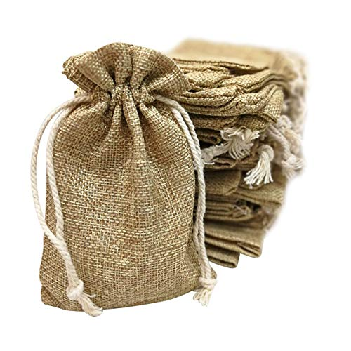 Natural Jute Gift Bag - 50 Small Burlap Bags with Drawstring, 4x6 Inch Gift Bag Bulk Pack - Wedding Party Favors, Jewelry and Treat Pouches