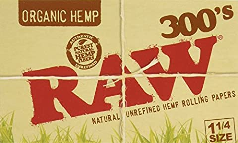 RAW Organic 300 Unrefined 1.25 1 1/4 Size Cigarette Rolling Papers, 5 Pack = 1500 Leaves