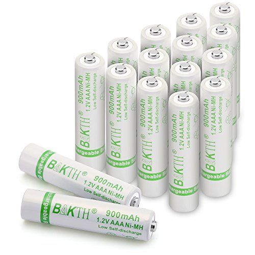 BAKTH 900mAh 1.2V AAA High Performance NiMH Cycle Low Self-Discharge Rechargeable Batteries for Toys and more Household Devices (16 Pack)