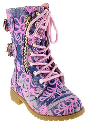 Mango 61Ka Little Kids Combat Lace up Boots Denim Floral 7 Toddler