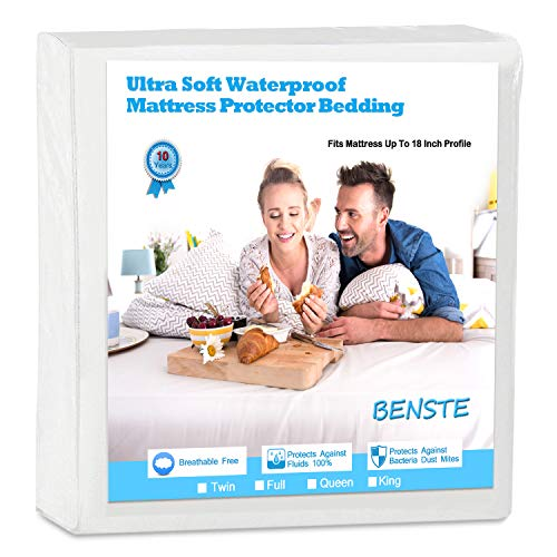 Benste Waterproof Mattress Protector, Cotton Smooth-Soft,Hypoallergenic Mattress Cover, Protection from Fluids, Insects, Bed Bugs, Dust Mites, Allergens. (Queen)