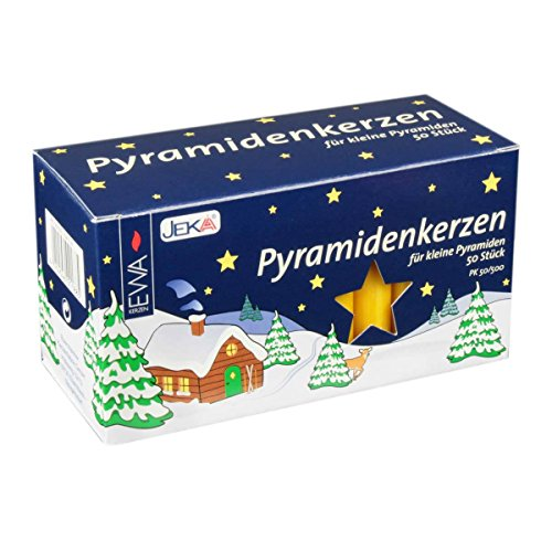 German Candle Carousel - Jeka Kerzen Christmas Pyramid Carousel Candles, Medium 14mm   - Honey