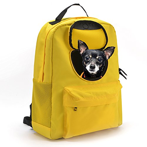 SOURCER Lightweight Pet Cat Dog Carrier Backpack, Classic Superbreak with Breathable Windows – Yellow