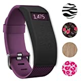 Fitbit Charge/HR Band Sock - More Styled and Super Cute - Fitbit Charge/Fitbit Charge HR Silicone Secure Band Cover Accessory with Different Colors and Patterns - Personalize Fitbit Charge/HR Wristband (Dynamic Vines Black x 1)