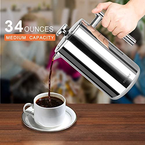 Secura Stainless Steel French Press Coffee Maker 18 10 Bonus Stainless Steel Screen 1000ML