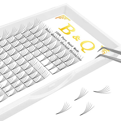 Premade Volume Fans Eyelash Extensions 12 Rows/Tray Short Stem Russian Volumes Lashes Extensions Fans C/D Curl 0.07/0.10 Thickness Individual Cluster Eyelash Extensions (5D-D curl-0.10, 15mm)