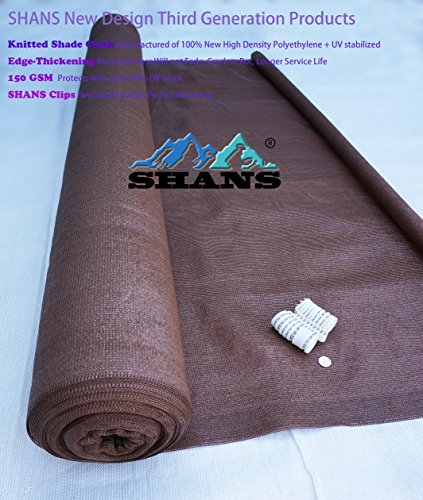 SHANS New Design Brown 90% UV Shade Fabric For Patio 6Ft by 15Ft with Plastic Grommets Clips Free by SHANS