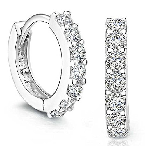 Price comparison product image Bestpriceam Sterling Silver Rhinestones Hoop Diamond Stud Earrings for Women