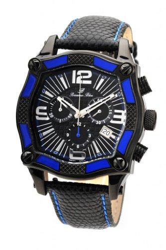 Porsamo Bleu Sao Paulo Swiss Ronda Genuine Leather Black & Blue Men's Watch 021ASPL