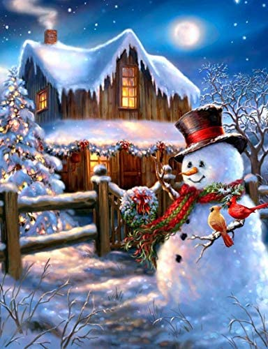 JLHATLSQ 5D DIY Diamond Painting Full Drill via Number Kits, Full Drill Crystal Rhinestone Embroidery Pictures Arts Craft for Home Wall Decor Gift Christmas Snowman(12x16inch)