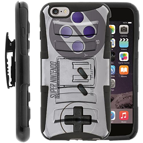 TurtleArmor | Compatible for Apple iPhone 6 Case | iPhone 6s Case [Hyper Shock] Hybrid Dual Layer Armor Holster Belt Clip Case Kickstand - Classic Game Controller