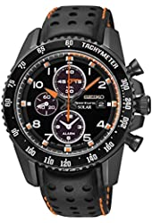 Seiko Solar Chronograph Black Dial Leather Strap Men's Watch SSC273