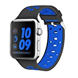 Element Works Adjustable Soft & Flexible Wrist Apple Sport watch band 38mm/42mm | Nickel-Free & Hypoallergenic Silicone Watch Band | Breathable Replacement Bands for Apple Watch Series - Black + Blue