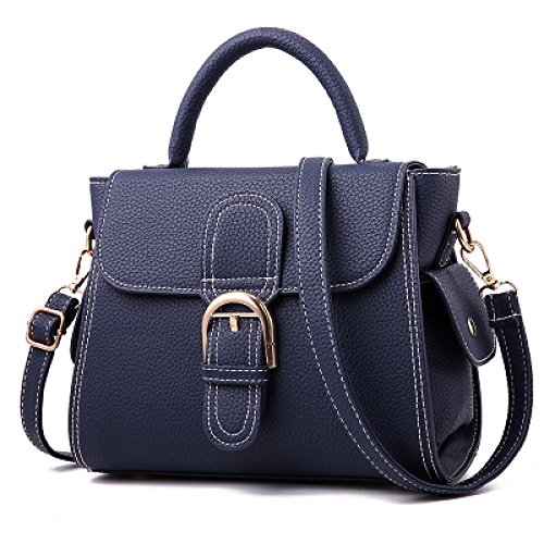 à Casual Cuir Sac Vintage Sac Bandoulière Crossbody Main à Satchel Sac Femmes Multicolor Main Grand Zipper Élégant Lady Pu Top Blue à xwTqdEx0P