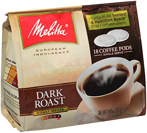 18 Single Serve Pods (Melitta Coffee Pods for Senseo and Hamilton Beach Pod Brewers, Dark Roast , 4.44-Ounce,(Pack of 6))