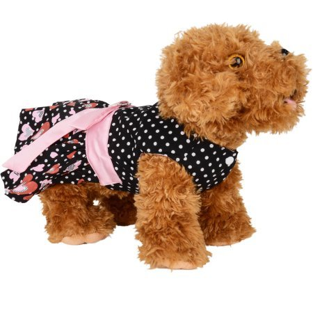 CUECUEPET Casual Indoor/Outdoor Button Up Dress for Female/Girl Dogs, Black with Polka Dot Hearts Large by CUE CUE Pet