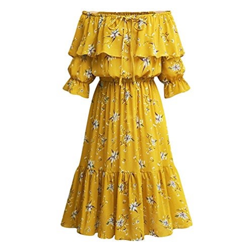 Taille Loisirs Jaune Robes d't Grande Femme Robe Heheja Mousseline Cocktail xBPCSnCw