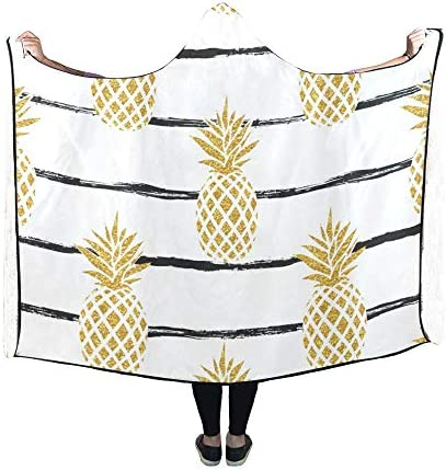Rtosd Couverture à Capuche été Ananas doré sur Couverture rayée 60x50 Pouces Wrap à Capuchon Comfotable