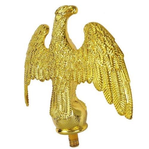 LeeMas Inc Plastic Handcrafted Gold Eagle Finial Flagpole Top Topper for 16'/20'/25' Telescopic Outdoor Yard Garden Flag Pole Paint ()
