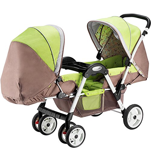 OLizee Baby Kids Toddler Twins Double Seats Tricycle Stroller Ride-On Trike(Khaki)