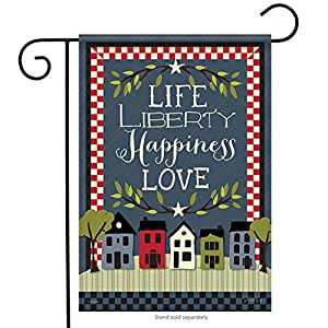 """Life Liberty Happiness Garden Flag Stars & Stripes Double Sided Love 12.5""""x18"""""""