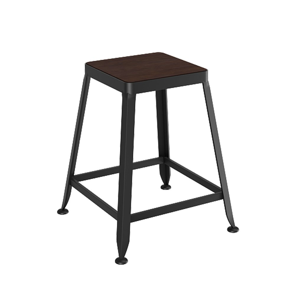 A 45cm ZPWSNH Bar Stool Solid Wood European Wrought Iron Bar Stool High Stool Bar Stool (color   A, Size   45cm)