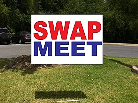 sWaP Meet rojo azul plástico corrugado Yard Sign/libre juego 18 x ...