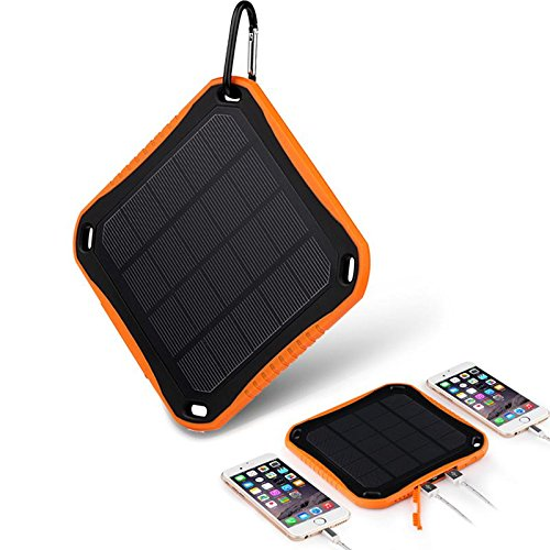 Portable Battery Charger 10000mAh Mobile Power Bank w. 20 LED Lights, Built-in Type-C, Micro USB Charging Cable Nucharger C40U LCD Display (Orange, Solar)