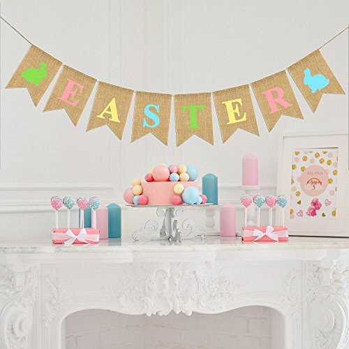 Vilight EASTER Burlap Banner Decorations - Rustic Mantel Garland for Fireplace Party Photos Backdrops - Linen Outdoor Indoor Home Decor (Garland Fireplace For Mantel)