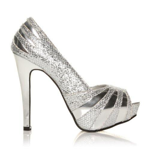 H13 - Chaussures à talons - Plateforme - Bout ouvert - Argent v4Oaep