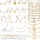 Yaomiao 52 Pieces Gold Jewelry Set with Layered Choker Pendant Necklace Assorted Rings Girls Vintage Star Moon Knuckle Ring Set Stackable Open Cuff Bangle Bracelet Adjustable Bangles for Women Girls