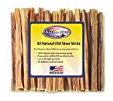 Shadow River 25 Pack 6 Inch Thin All Natural Steer Sticks for Dogs