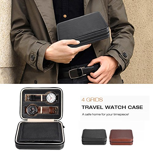 EleLight 4 Grids Watch Storage Display Box, Portable Travel Leather Watch Collector Storage Case for Men & Women as A Gift (Black) by EleLight (Image #6)