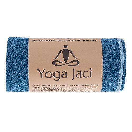 "Extra Long Hot Bikram Yoga Mat Towell - Non Slip - Ultra Absorbent - Premium Microfiber - Quick Dry - Machine Washable (Blue, 1 Mat Towel 24""x72"")"