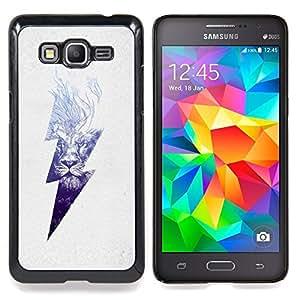 """Blue Lion alto voltaje del peligro relámpago"""" - Metal de aluminio y de plástico duro Caja del teléfono - Negro - Samsung Galaxy Grand Prime G530F G530FZ G530Y G530H G530FZ/DS"""