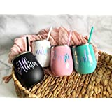 Personalized Wine Tumbler with Lid & Straw | Custom Vinyl Decal Wine Cup | Bridesmaid Gifts Wedding Gifts Bachelorette Party Favor