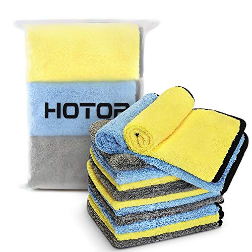 "16"" x 16"" Large & Thick Microfiber Cleaning Cloths Strong Absorption with Fine Workmanship(12-Pack), Non-Abrasive Microfiber Towels for Home, Cleaning Rags for Cars (Blue, Yellow, Gray)"