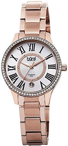 Burgi Women s Diamond Watch – 12 Genuine Diamonds Hour Markers with Date Window on Skinny Stainless Steel Bracelet – BUR090