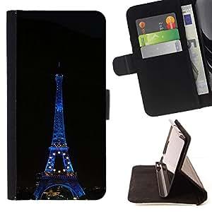 Momo Phone Case / Flip Funda de Cuero Case Cover - Arquitectura Torre Eiffel en la noche - Motorola Moto E ( 1st Generation )