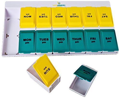 Organizer Extra Large Pill (Extra Large Daily Pill Box -Weekly Pill Organizer with 7 Day AM/PM Twice a day Storage Case with Detachable Travel compartments for Vitamins, Supplements and Medicines)