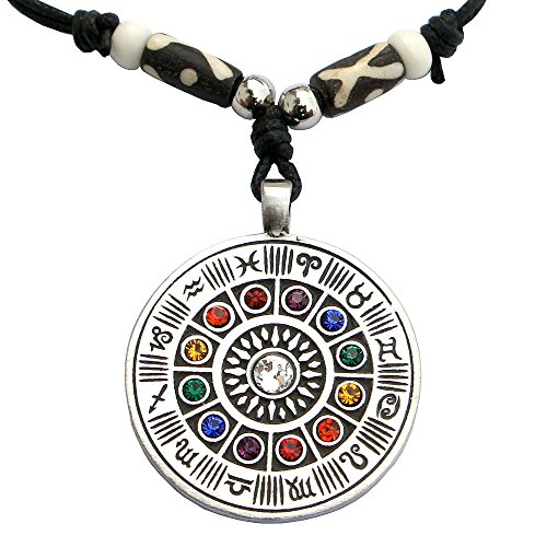 - Wheel of zodiac colored crystal pewter pendant Handmade adjustable necklace beads decorated