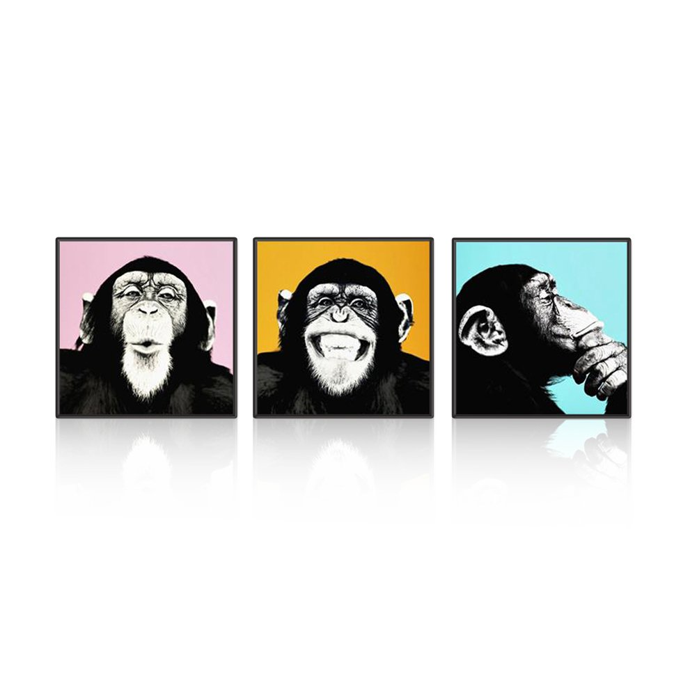 VSNEW 3 Panels Modern Funny Gorilla Monkey Wall Art Painting on Canvas for Home Decor(20×20inch×3pcs)