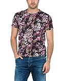 Replay Black All Over Multi Flower Design T-Shirt - M3485-010 XL