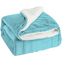 """Sherpa Throw Blanket Lt Blue Twin Size Reversible Fuzzy Bed Blankets Microfiber All Seasons Luxury Fluffy Blanket for Bed or Couch 60""""x80"""" by Bedsure"""