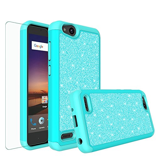 Galaxy Wireless Compatible for ZTE ZFive G LTE Z557BL/ZTE ZFive C Z558VL/ZTE Avid 4/ZTE Fanfare 3/ZTE Blade Vantage/ZTE Tempo X/Tempo Go,Glitter Bling Hybrid Phone Case Cover - Mint
