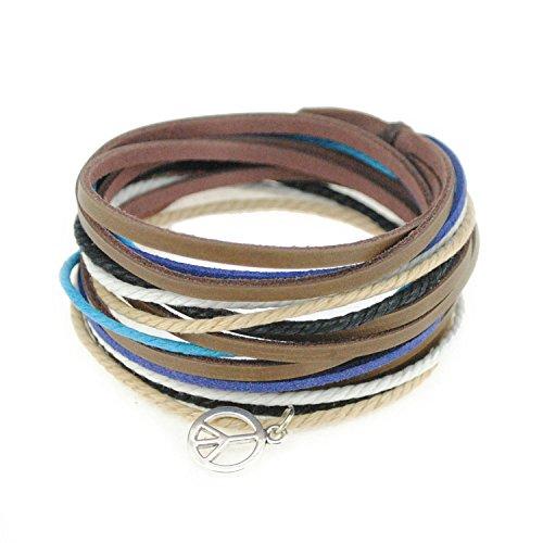 Stylish Leather Wristband Bracelet - FRD.2Y Genuine Leather Cuff Wrap Bracelet,Unisex Multilayer Leather Braided Adjustable Bracelet Multicolor Rope Wristband for Women & Men (Multicolor-C0602)