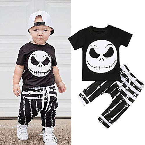 2 PCS Baby Boys Girls Skull Bone Print Clothing Set Short Sleeve T-Shirt + Long Pants Outfits (0-6 Months, Black)