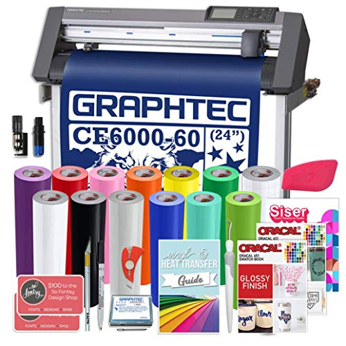 Graphtec Plus CE6000-60 24 Inch Professional Vinyl Cutter with Bonus $2100 in Software, Oracal 751, and 2 Year Warranty